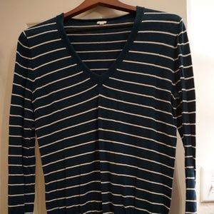 J. Crew Teal & White Stripe V-Neck Long Sleeve